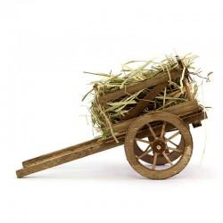 Handcart with hay for nativity scene 10x18x8 cm