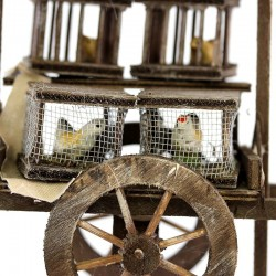 Handcart with cage seller for nativity scene 13x17x8 cm