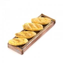 Teglia in legno con sfilatini per presepe 4 cm