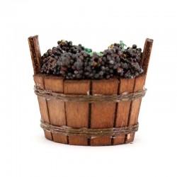 Tinozza in legno con uva per presepe 5,5x4,5 cm