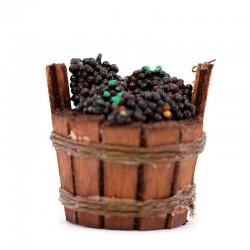 Tinozza in legno con uva per presepe 3,5x3,5 cm