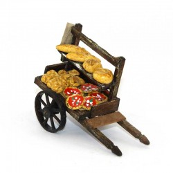 Wooden bread and pizza cart for nativity scene 10x7x5 cm