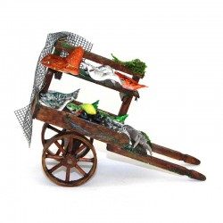 Wooden cart with fishes for nativity scene 10x7x5 cm