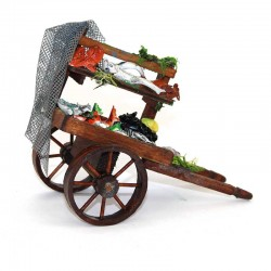 Wooden cart with fishes for nativity scene 13.5x10x6.5 cm