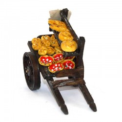 Wooden cart with breads and pizzas for nativity scene 13.5x10x6.5 cm