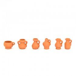 Anfore e brocche assortite in terracotta confezione 6 pezzi 2,5 cm