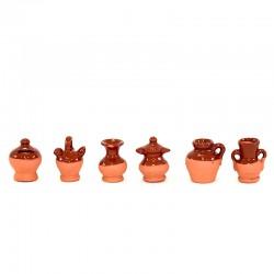 Brocche e Anfore ceramica smaltata confezione 6 pezzi 2,5 cm