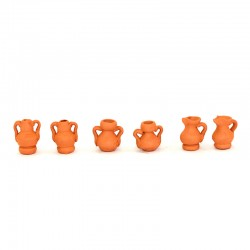 Anfore in terracotta assortite confezione 6 pezzi 1,5 cm