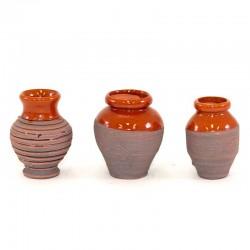 Anfore rustiche in terracotta smaltata confezione 3 pezzi 4 cm