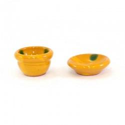 Bacinella e piatto in  terracotta con smalto 2 pezzi