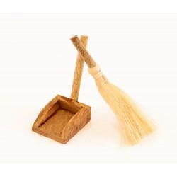 Scopa e paletta in legno per presepe 4,5 cm