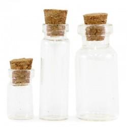 Set 3 Bottiglie in vetro con tappo 4 cm