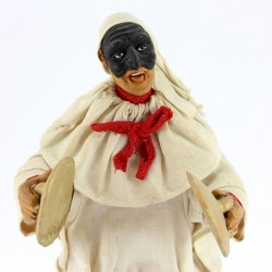 Terracotta Pulcinella with Clothing with plates 18 cm