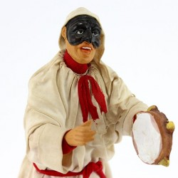 Terracotta Pulcinella with Clothing and Tambourine 18 cm