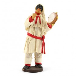 Terracotta Pulcinella with Clothing and Tambourine 14 cm