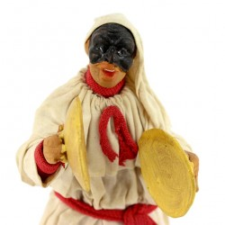 Terracotta Pulcinella with Clothing with plates 14 cm
