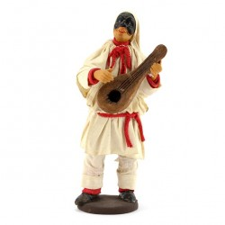 Terracotta and Clothing Pulcinella with mandolin 14 cm