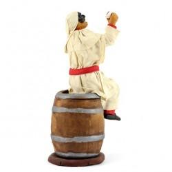 Terracotta and Clothing Pulcinella on Barrel 20 cm