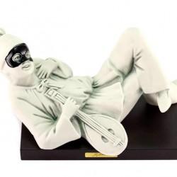 Ceramic Lying Pulcinella with Mandolin 7 cm