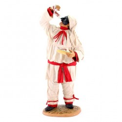 Terracotta Pulcinella with Clothing with Spaghetti 30 cm