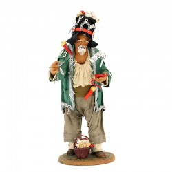 Dressed terracotta hunchback with accessories 30 cm