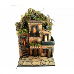 Nativity hut in wood and cork with light 42x57x31 cm