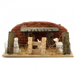 Scena per presepe recinto con pecore 14x6x11 cm