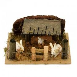 Scena per presepe recinto con conigli 14x6x11 cm