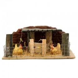 Scena per presepe recinto con galline 14x6x11 cm