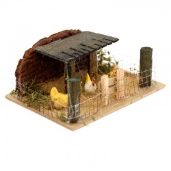 Fence with Hens for Nativity Scene 14x6x11 cm