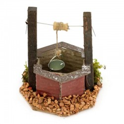 Well with bucket for nativity scene model D 14 cm