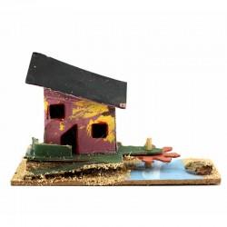Casetta per presepe in legno e cartoncino modello-C