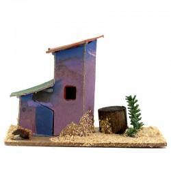 Casetta per presepe in legno e cartoncino modello-E