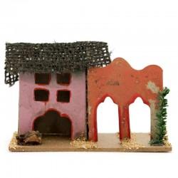 Casetta per presepe in legno e cartoncino modello-L