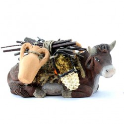 Terracotta and Clothing Donkey and Ox 12 cm