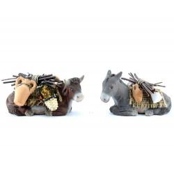Bue e asino bardati in terracotta 12 cm (coppia)