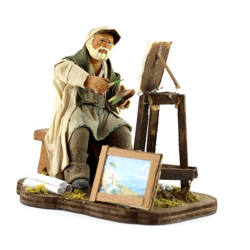 Pittore con cavalletto in terracotta vestita 12 cm for Cavalletto pittore