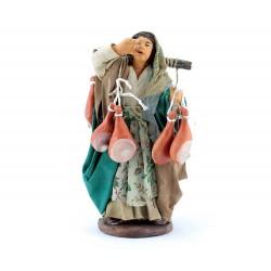 Venditrice di prosciutti in terracotta vestita 12 cm