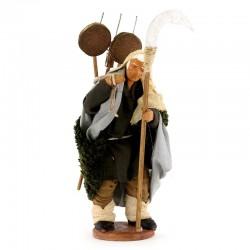 Uomo con attrezzi terracotta vestita 12 cm