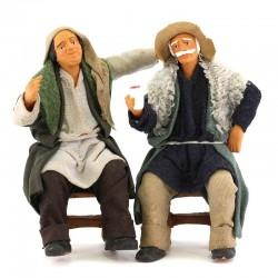 Coppia ubriachi seduti terracotta vestita 12 cm