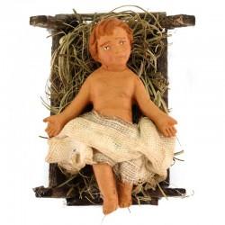 Gesù Bambino in culla terracotta vestita 12 cm