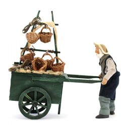 Venditore di panieri con carretto terracotta vestita 12 cm