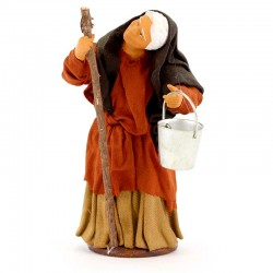 Donna con gobba in terracotta vestita 12 cm