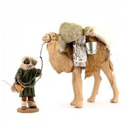 Cammelliere con cammello in terracotta vestita 12 cm