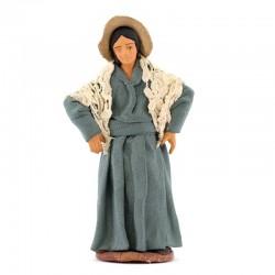 Donna con mani sui fianchi terracotta vestita 12 cm