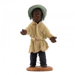 Fanciullo moro in piedi terracotta vestita 12 cm