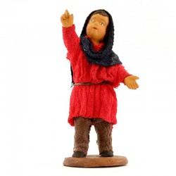 Fanciullo che indica stella in terracotta vestita 12 cm