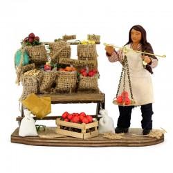 Fruttivendolo con banco legno in terracotta vestita 12 cm