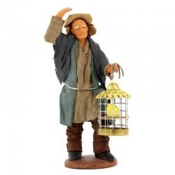 Uomo con mano in testa e gabbia in terracotta vestita 12 cm