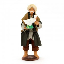 Uomo con oca in mano terracotta vestita 12 cm